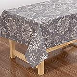 X-Labor, tovaglia rettangolare impermeabile in tessuto Oxford, lavabile, per giardino, stanza, decorazione tavolo, colore: grigio, grigio., 140*260 cm