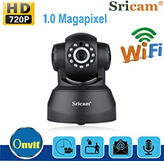 Sricam SP012 720P Pan/Tilt Indoor Wireless IP Camera WiFi Network Support P2P APP Night Vision Two Way Audio Home Security Monitor Cameras (Black)