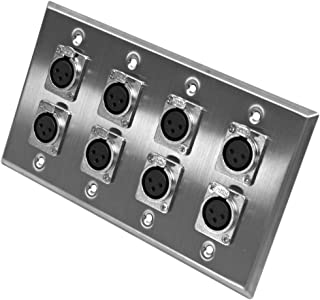 Seismic Audio SA-PLATE1 Stainless Steel Wall Plate with 4 Gang with 8 XLR Female Connectors