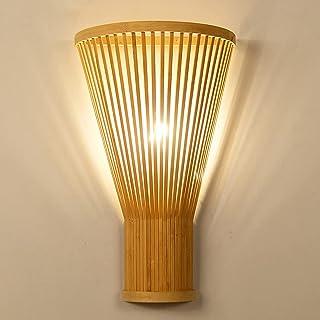 LANMOU Lampe Murale en Bambou Intérieur Classique, Applique Murale en Bois avec Osier Rotin Tresse Abat-Jour E27 Éclairage...