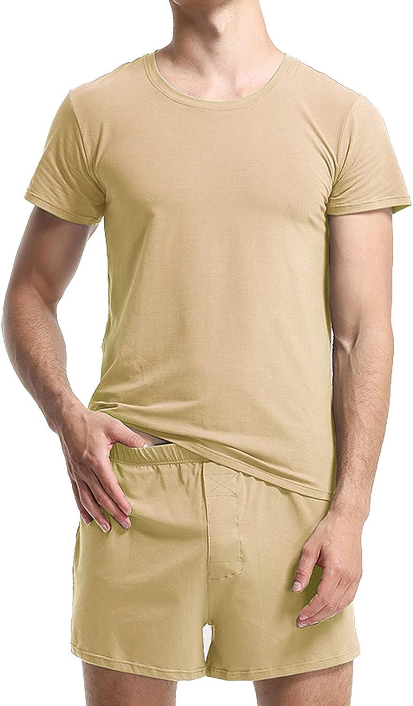 GTHTTT Men's Pajama Set Cotton Short Sleeve Ultra-Soft Summer Sleepwear Round Neck PJ Set 2 Piece Nightwear Loungewear