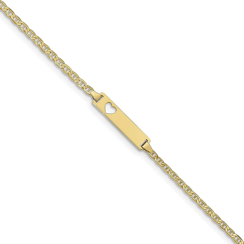10k Flat Anchor Link ID Bracelet, 10k Yellow Gold, Length: 7 inc