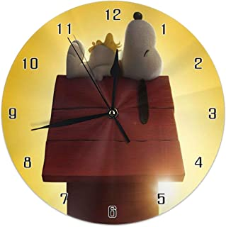 Home Decor Wall Clock Snoopy Cartoon Cute Puppy Roof Sleeping Round Style,Silent Non -Ticking Wall Clock, Battery Operated Art Decorative for Kitchen,Living Room,Kids Room and Coffee Decor (10 Inch)