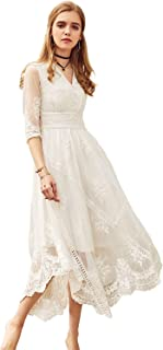 Women's Lace Embroidered Maxi White Sheer Wedding Dress