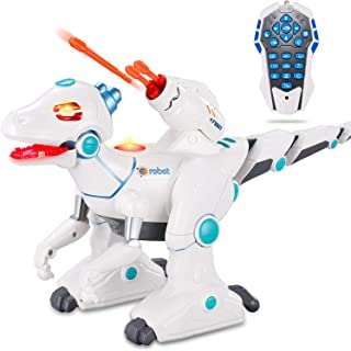 JIEQI RC Robot Dinosaur for Kids Intelligent Remote Control Dinosaur Toys with Flashing LED Lights Sings Dances Sprays Mist Launch Missiles Walking Fight Models,Electronic RC Toys Best Gift for Kids