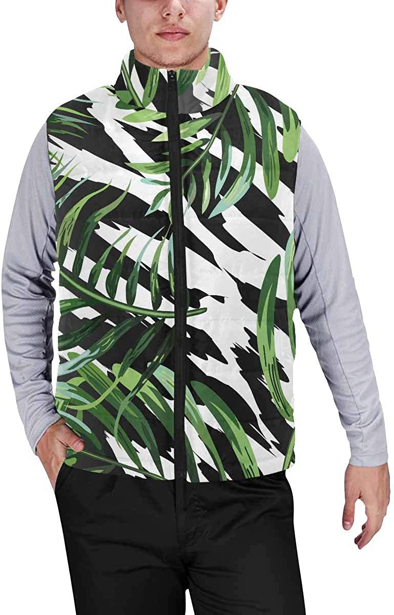 InterestPrint Men's Casual Sleeveless Coats with Personality Design Tropical Leaves and Cute Dinosaurs