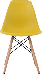 CozyBlock DSW Slope Dark Yellow Molded Plastic Dining Side Chair with Beech Wood Eiffel Legs