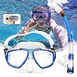 Xuanbao Máscara de Buceo 2pcs / Set de Cristal Templado del Tubo respirador Gafas máscara de respiración del Tubo del Equipo de Submarinismo Natación Buceo Snorkeling Accesorios