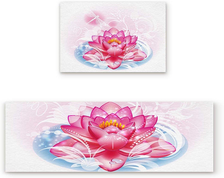 Aomike 2 Piece Non-Slip Kitchen Mat Rubber Backing Doormat Exotic Lotus Zen Meditation Runner Rug Set Hallway Living Room Balcony Bathroom Carpet Sets (19.7  x 31.5 +19.7  x 47.2 )