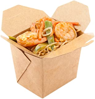 8-OZ Square Noodle Take Out Food Container: Perfect for Take Out Restaurants – Kraft Brown – Easy Fold and Close – Disposable and Recyclable – 200ct – Restaurantware