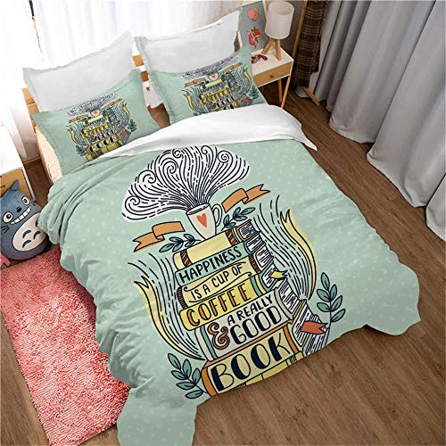Bedding Colorful books 3D print pattern 3 pieces Duvet Cover & Pillowcase Bed Set Adults Teenagers, Polyester-Cotton Easy Care And Super Soft Cotton Design-220x240cm