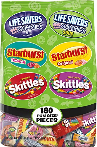 Skittles, Starburst, Lifesavers Gummies Stand Up Bag, 180 Count