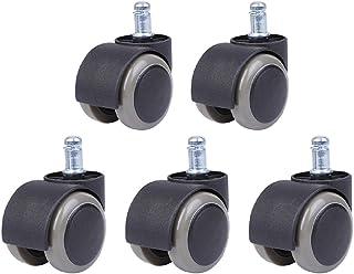 [SAMUO] ウレタンキャスター オフィスチェア パソコンチェア 5個セット 交換用 双輪タイプ 差し込み式 (ブラック&グレー)