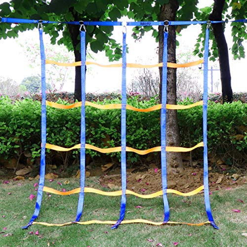 TOPNEW Climbing Net for Kids Outdoor, Portable Ninja Cargo Net Rope Ladder Monkey Bars for Ninja Line, Jungle Gyms, Swing Set, Ninja Warrior Style Obstacle Courses for Outdoor Treehouse