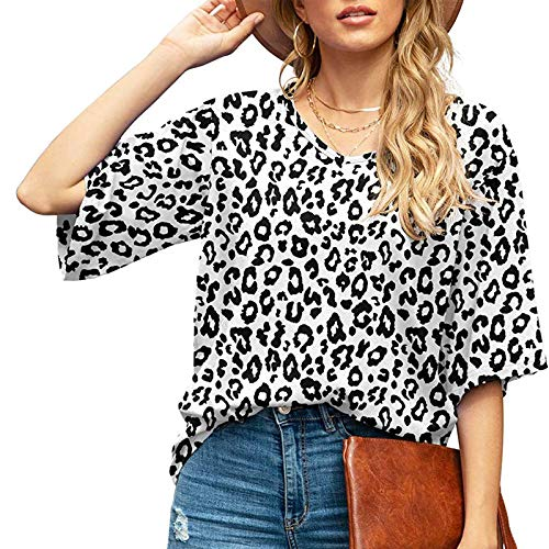 Damen Kurzarm T-Shirt Leopard Aufdruck Sommer V-Neck Oberteile Freizeit Lockere Retro Tshirts Top Frauen Bluse Tunika Teenager Mädchen Rundhals Casual Kurzarm Shirts Frauen Blusen Lässig T-Shirt