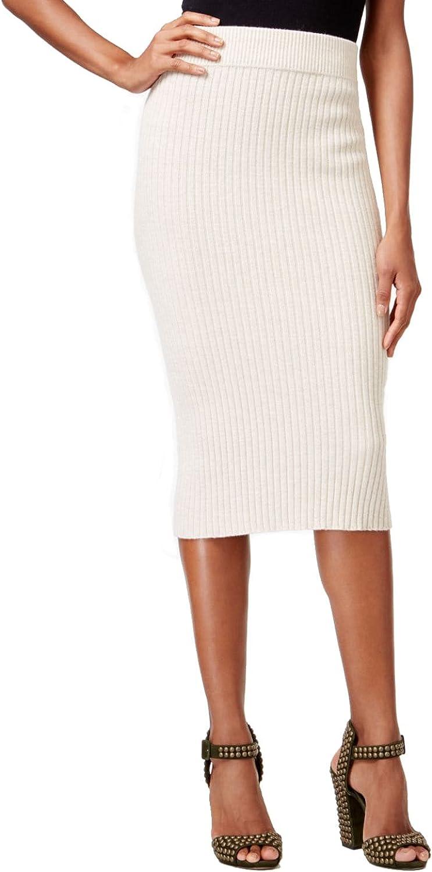 Rachel Roy Womens Ribbed PullOn Pencil Skirt Natural XS