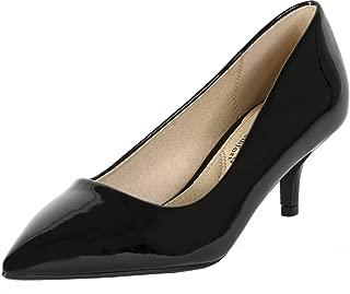 City Classified Women's Hailey Dress Pointd Toe Kitten Heel Pumps MVE Shoes Black Patent 7.5