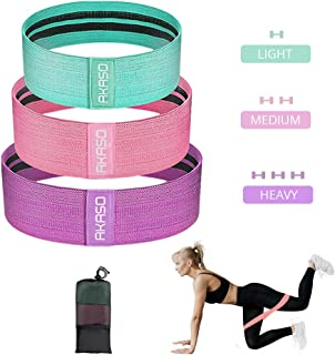 AKASO Booty Band Fabric 3 Sets, Resistance Bands for Legs and Butt, Workout Bands Resistance for Women Fitness Band for Squat Glute Hip Training