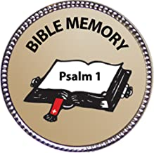 Keepsake Awards Psalm 1 Bible Memory Award, 1 inch Dia Silver Pin Bible Memory Achievements Collection