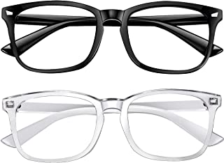 Blue Light Blocking Glasses 2pack Square Computer Glasses Women/Men, Nerd Reading Gaming Glasses Non Prescription