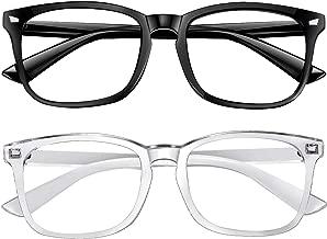 Blue Light Blocking Glasses 2pack Square Computer Glasses Women/Men, Nerd Reading Gaming..