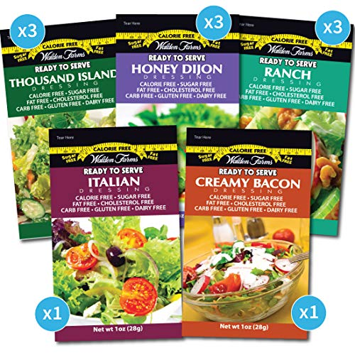 Walden Farms Salad Dressing Packets- Sampler Pack in Ready to Serve Calorie Free Flavors, 11-1 oz Pouches (Honey Dijon,Thousand Island,Ranch,Italian,Bacon)