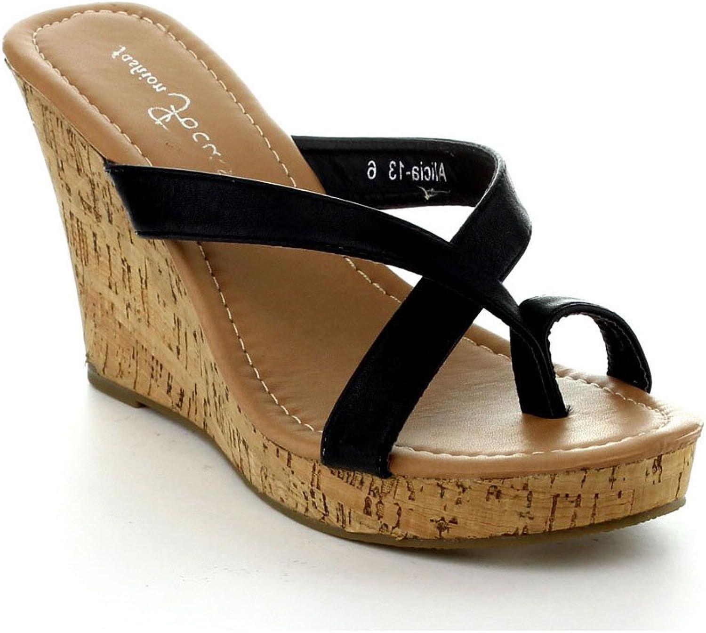 Fashion Focus Alicia-13 Womens Slipper Wedge Sandal