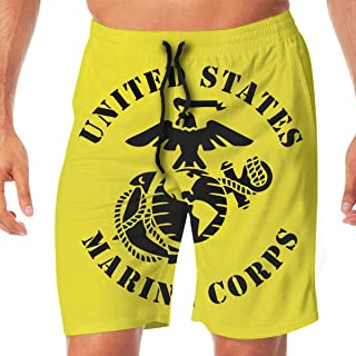 United States Marine Corps Quick Dry Elastic Lace Boardshorts Beach Shorts Pants Swim Trunks Swimsuit with Pockets.