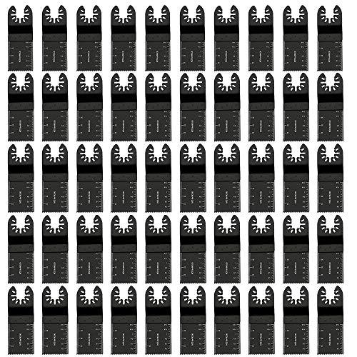 50Stk Profi Sägeblätter Kit Bi-Metall Oszillierwerkzeug Zubehör Multitool Schnellspanner für Fein Multimaster, Makita, Rockwell, Bosch Handwerker und mehr