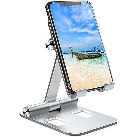 スマホスタンド 卓上 携帯 スタンド スマホ タブレット ホルダー 折り畳み式:スマフォスタンド, アイフォンデスク置き台 角度高度調整可能 収納便利 滑り止め付き アルミ製 iPhone/Android/Nintendo Switch/Kindleに対応(シルバー)