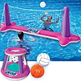 """Inflatable Volleyball Net & Basketball Hoops Pink Pool Float Set; Balls Included for Kids and Adults, Summer Floaties, Summer Pool Game, Volleyball Court (105""""x28""""x35"""")