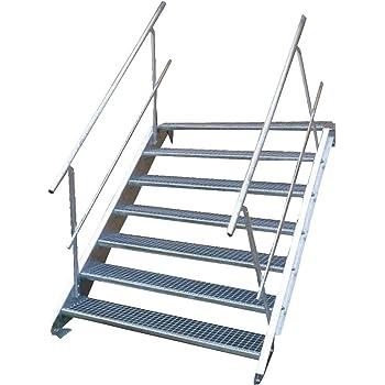 Stahltreppe Industrietreppe Aussentreppe Treppe 3 Stufen-Breite 80cm Variable Geschossh/öhe 40-60cm vezinkt mit beidseitigem Gel/änder