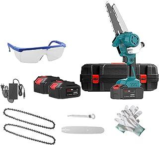 XLOO Motorsåg elektrisk, 21 V klippsåg, används för trädgårdsbruk, bete, träd fällor, trä, med laddare och 2 batterier