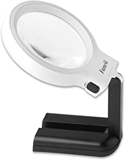 FC Optics LED Lighted Hands Free Magnifying Glass with Light Stand - 2X 4X Large Portable Illuminated Magnifier For Reading, Inspection, Soldering, Needlework, Repair, Hobby & Crafts