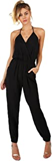 Romwe Women's Sexy Sleeveless Surplice Top Pocket Front Wide Tapered Romper Jumpsuit