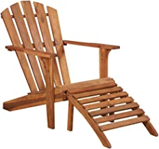 Garden Adirondack Chair, Solid Acacia Wood Natural Oil Finish Folding Chair Accent Furniture with with Footrest for Yard P...