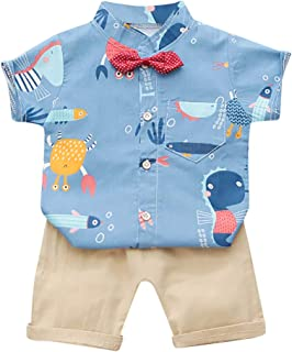 Zrom Baby Boys Clothing Set,1-4 Years Infant Baby Boys Cartoon T-shirt Tops+Strap Pants Suspender Outfits Set