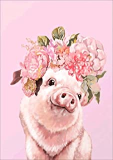 Flower Pig Diamond Painting Kits - PigPigBoss 5D Full Drill Diamond Painting Cross Stitch Kit - Crystal Diamond Dot Kit Ho...