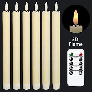 شمع های مخروطی عاجی بدون شعله GenSwin با 10 کلید از راه دور و باتری کار می کنند ، چراغ های گرم پنجره فتیله ای ، چراغ های شمع ، بسته واکس واقعی 6 ، تزئین عروسی خانه کریسمس (0.78 X 9.64 اینچ)