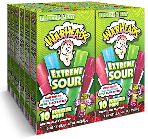 Warheads, Fat Free Freezer Pops, Assorted Flavors, Extreme Sour ,12 Boxes,10 - 1 oz pops per box,1 Ounce (Pack of 120)