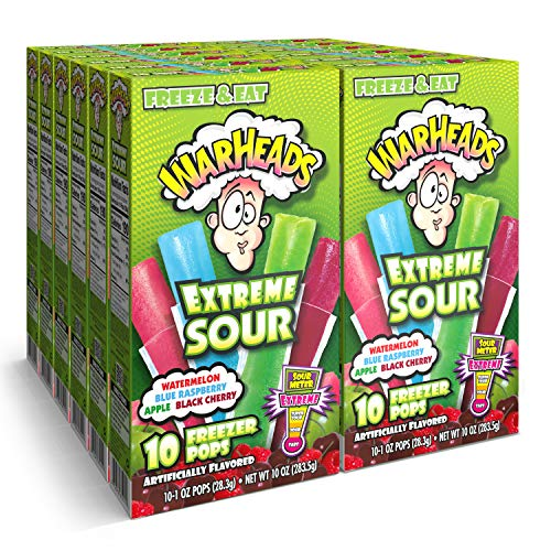 Warheads, Fat Free Freezer Pops, Assorted Flavors, Extreme Sour ,12...