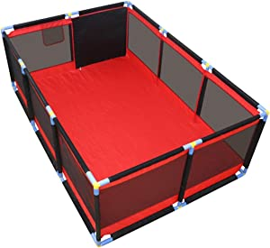 WJSW Large Playpen for Babies Safety Play Center Yard Toddler Playard Preschool Toys Indoor Playground Protective Playmats 190x128x66cm Black and Red