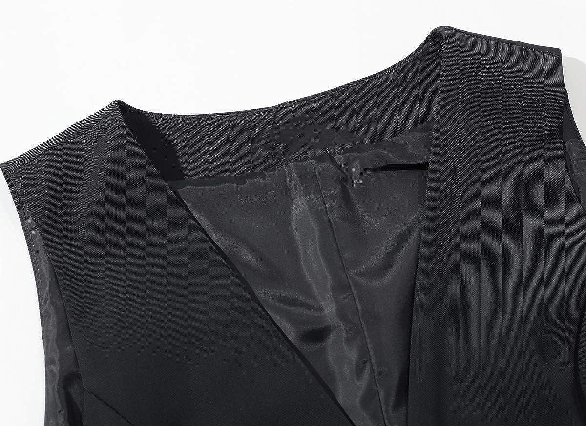 Vocni Damen Weste mit V-Ausschnitt und 4 Knöpfen, komplett gefüttert Schwarz 02 (zwei Tasten)