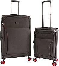 ORIGINAL PENGUIN Luggage Platt 2 Piece Set Expandable Suitcase with Spinner Wheels, Black Crosshatch/Red