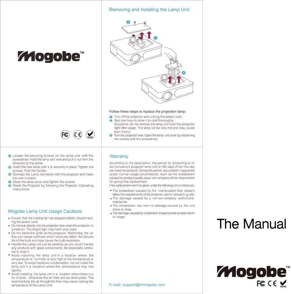Mogobe for ELPLP60 Replacement Projector Lamp with Housing for BrightLink 425WI H383A H387A EB-425W
