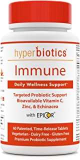 Immune: Hyperbiotics Daily Immune & Wellness Support—Probiotics With Bioavailable Vitamin C, Zinc, Echinacea, & EpiCor (Sa...
