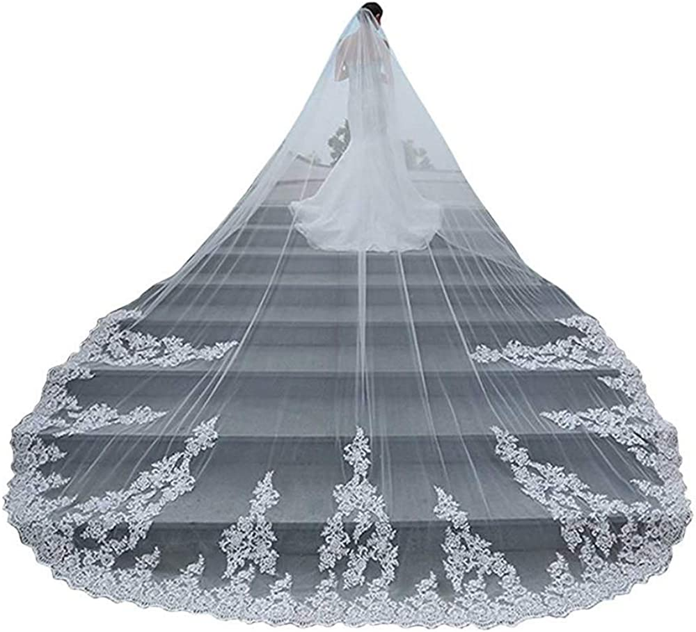 Fenghuavip 1 Tier Cathedral Veil Lace Appliques Wedding Veils Long for Brides with Comb