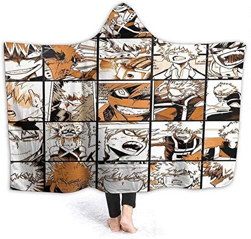 Decke Anime My Hero Academia Collage Bakugo Katsuki mit Kapuze, superweich, Sherpa-Fleece-Decke, 127 x 101,6 cm