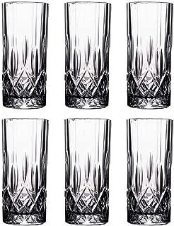 Tebery 6 Pack Clear Highball Glasses Diamond CutDrink Glasses Tumbler Beverage Set(8 ounce)
