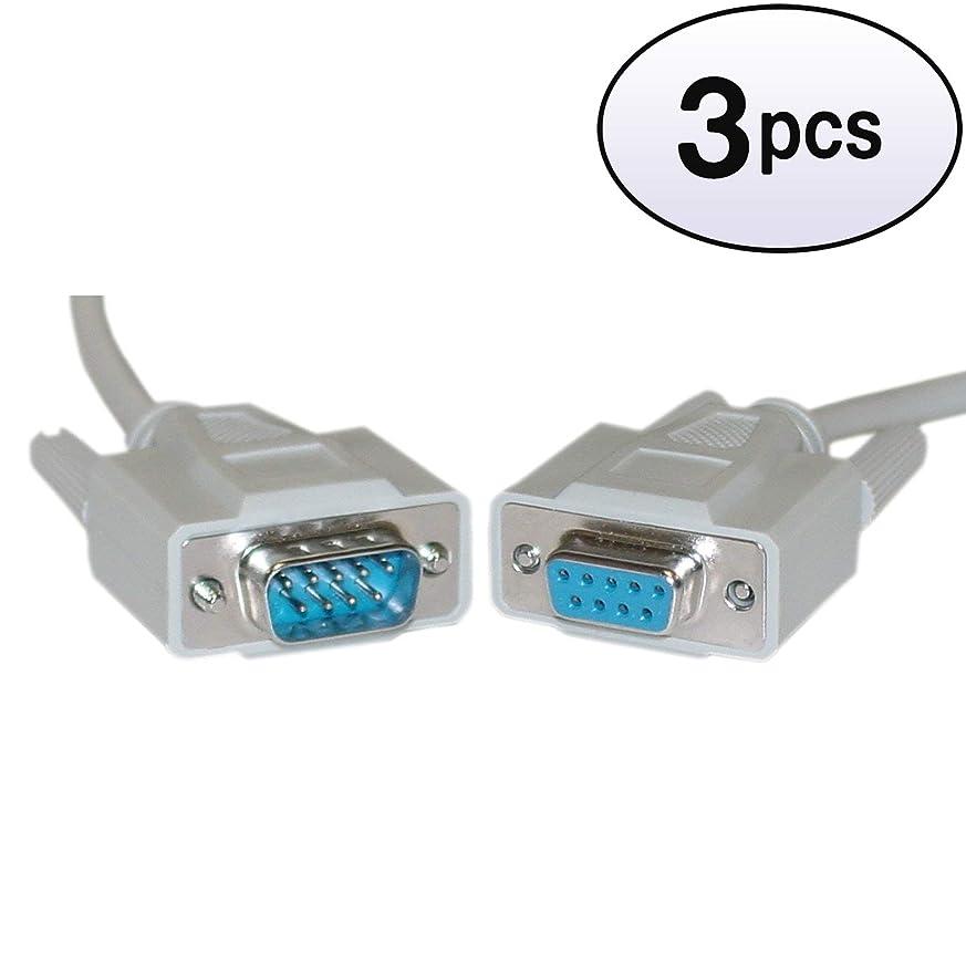 最も前倫理GOWOS シリアル延長ケーブル DB9オスからDB9メス 3パック UL規格 9導体 1:1 3フィート